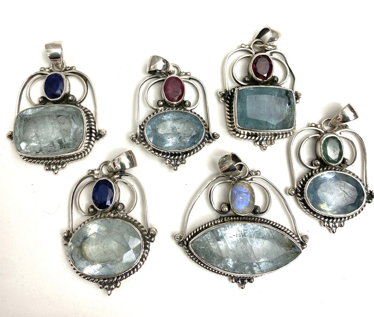 Large Size Faceted Aquamarine Pendants with Sapphires, Tourmalines or Emeralds