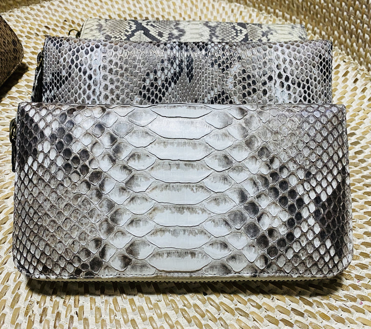 Large Womens Python Leather / Snake Skin Zippered Wallet from Bali - Available in 2 colors