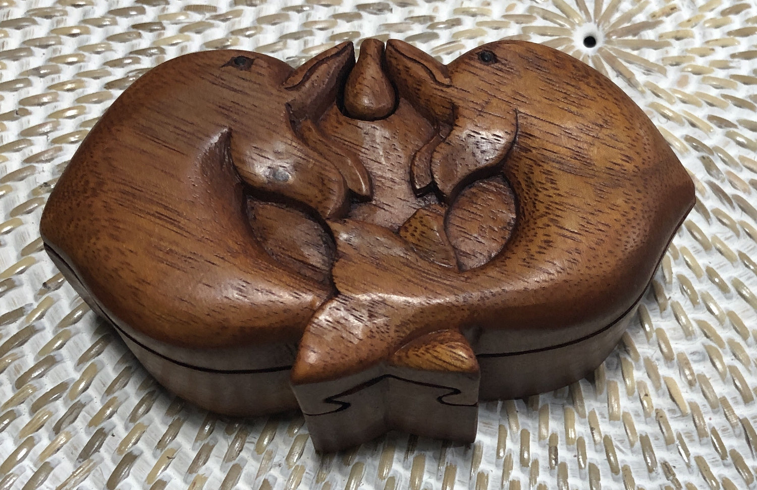 Handcarved Wooden Double Dolphin Puzzle Boxes
