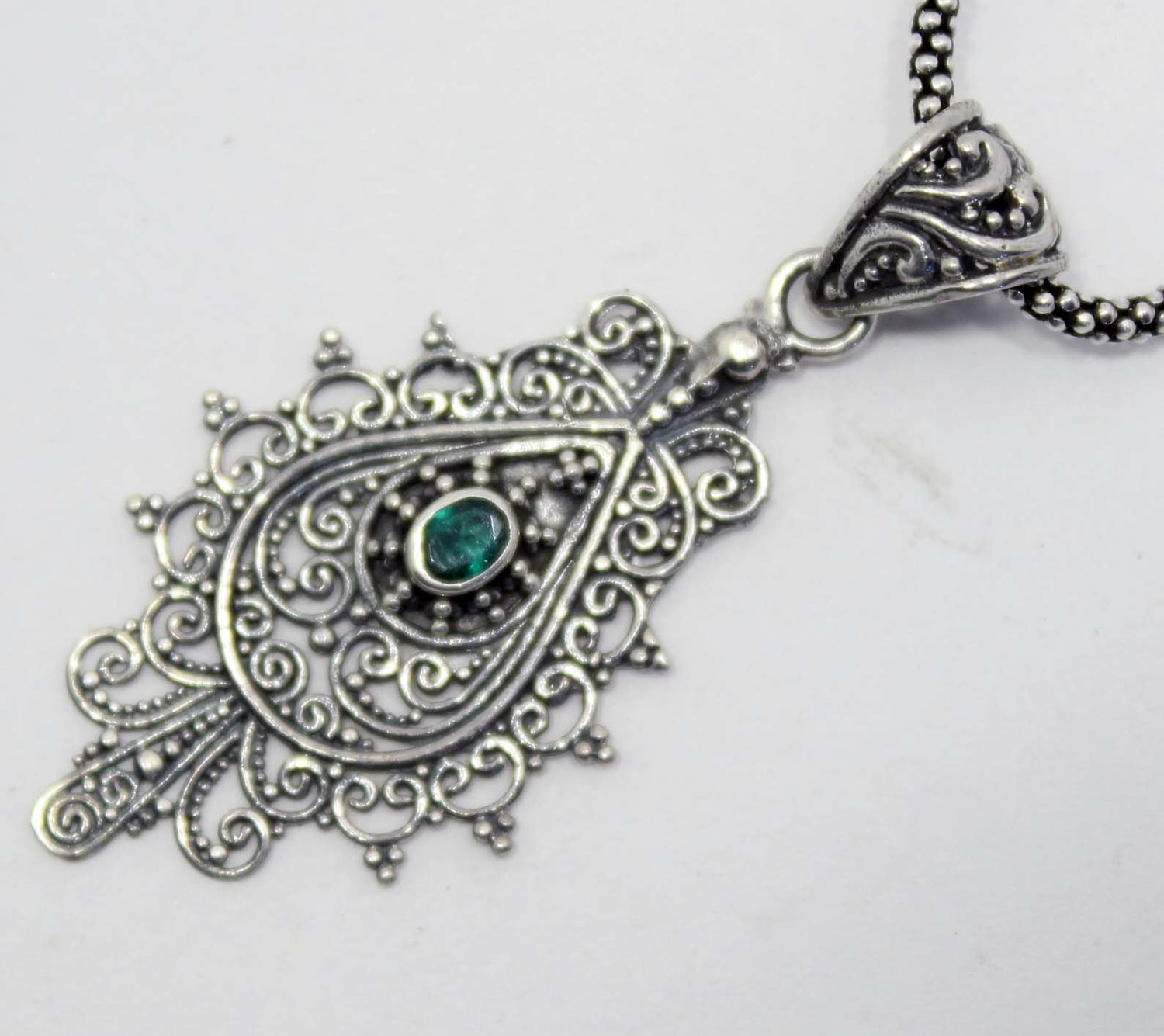 Sterling Silver Emerald Filigree Pendant
