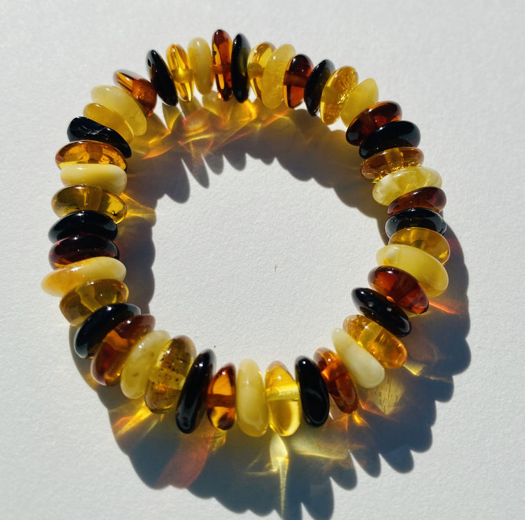 Stretchy Amber Childrens Bracelets Multi Color Chips