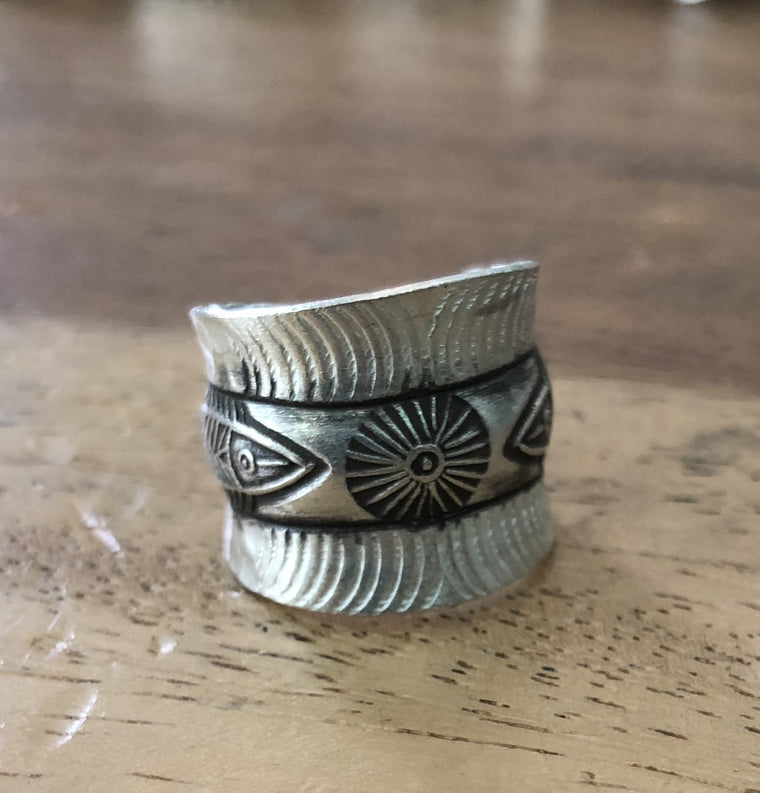 Handmade Sterling Silver Thai Hill Tribe Ring Adjustable 7 to 9 fish