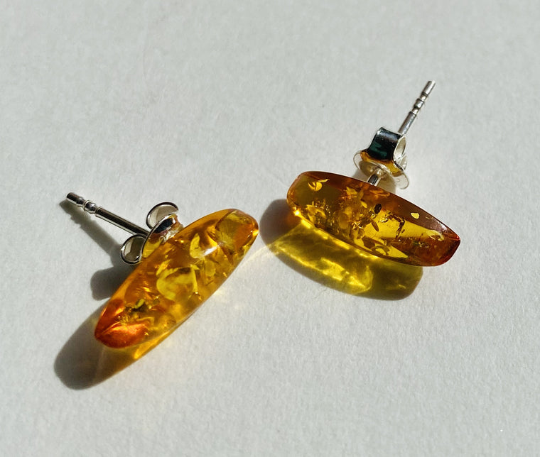 Sterling Silver Amber Marquise cut Stud Earring