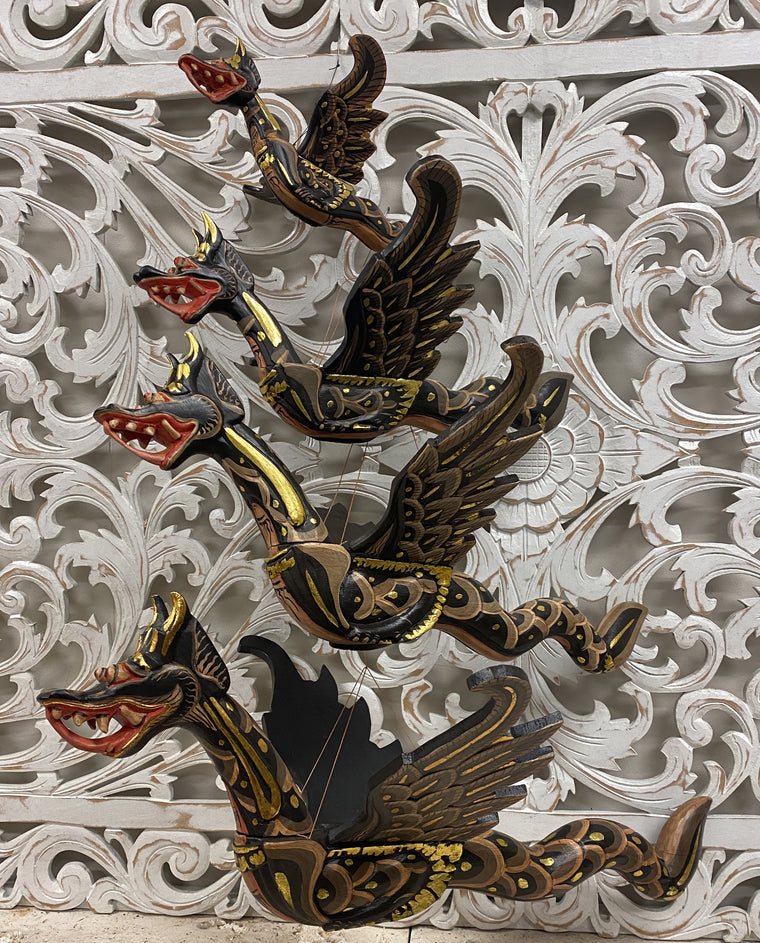 Hand Carved Flying Dragon Spirit Chasers Black- Available in 4 Sizes