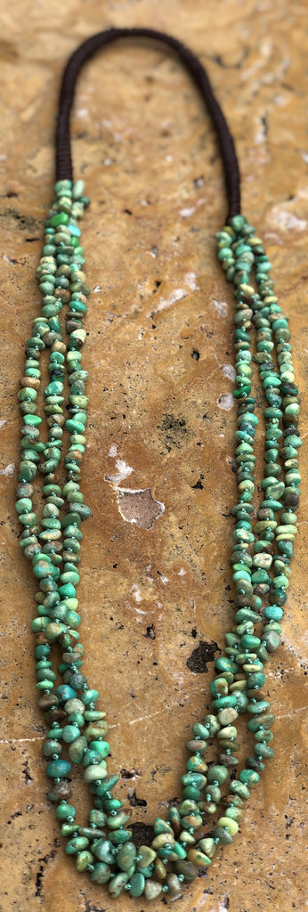 "34"" Hand knotted 3 strand Natural Green Turquoise Chip Necklace"