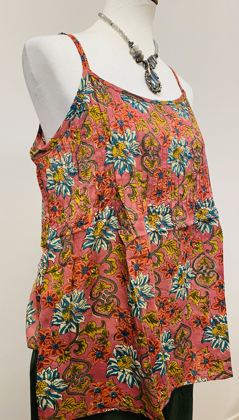 Hand Block Print Cotton Tank Top with pleated detail on top - 4 Patterns Available