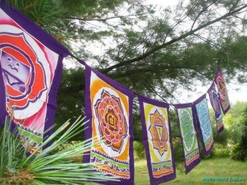 Hand Batiked Garden Prayer flags Chakra Symbols
