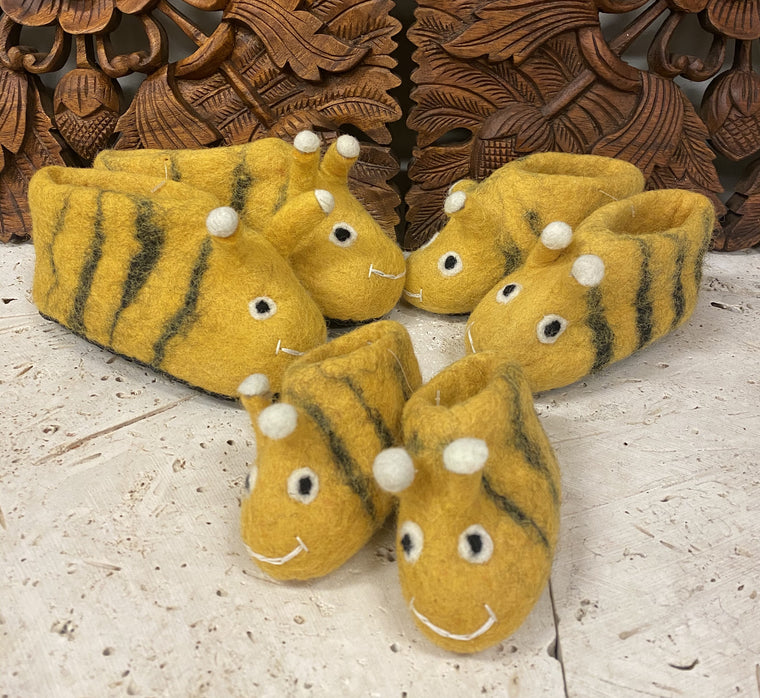 Hand felted Wool Bumble Bee Childrens Slippers Shoes - Supports Women in Nepal