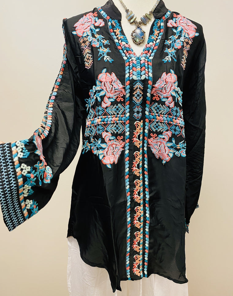 Silky Long sleeve Embroidered Top with heavy Embroidery