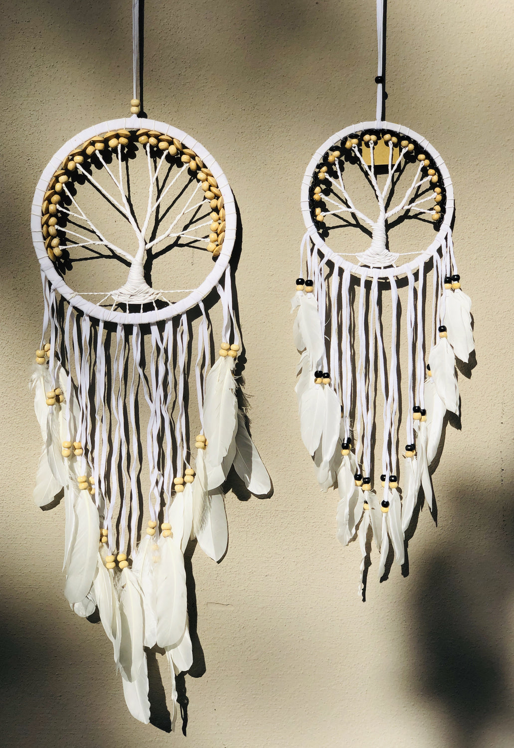 Dream Catcher Suede Tree of Life with Swan Feathers