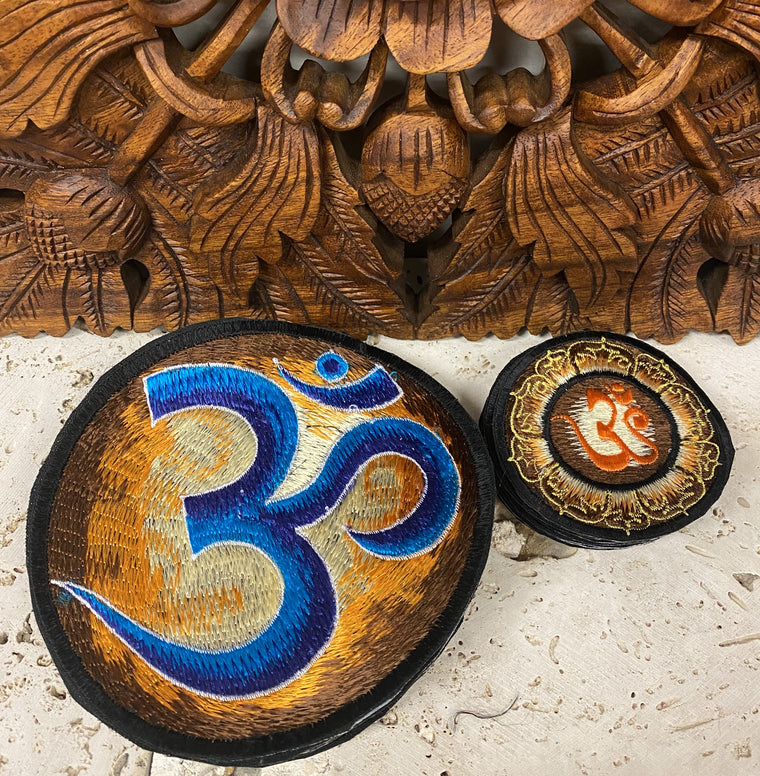 Handmade Browns & Golds Om Mandala Embroidered Patches from Nepal