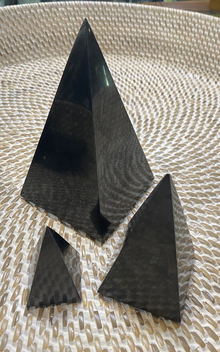 Shungite Obelisk Pyramids - Three Sizes