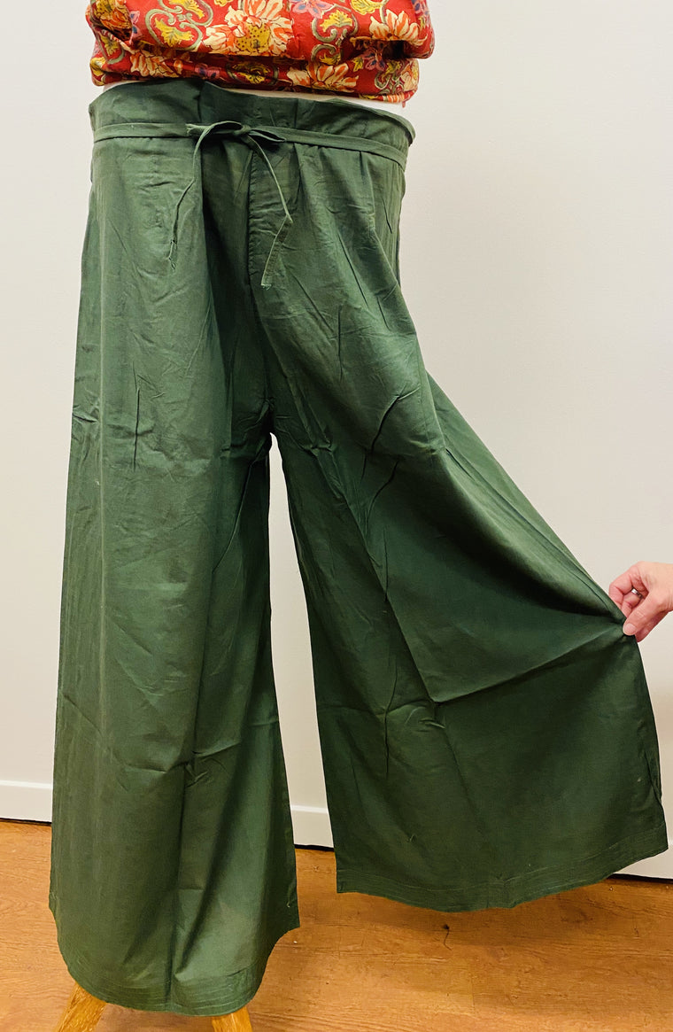 Loose fit Cotton Wide Leg Drawstring Pants - 4 Colors Available