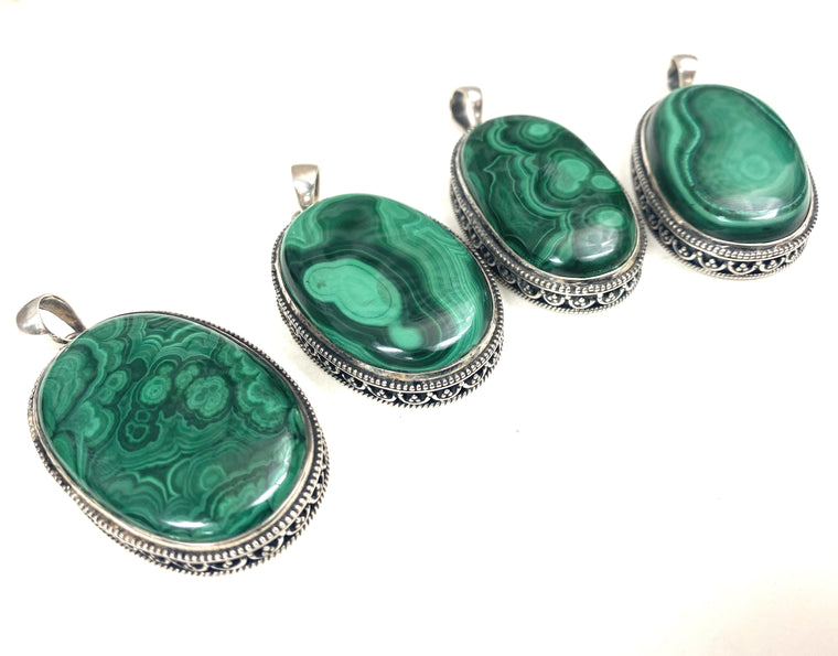 Sterling Silver Large Stone Malachite Pendants