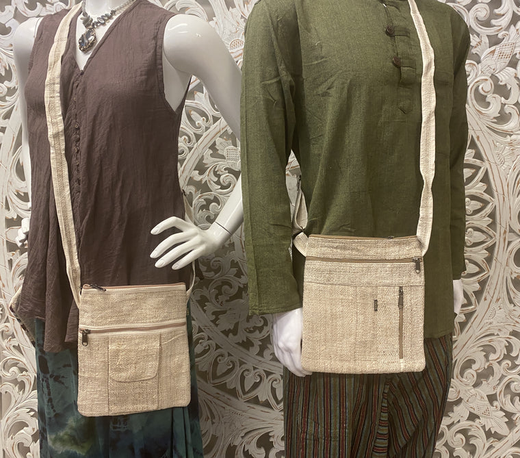 Multi Pocket Unisex 100% Hemp Shoulder Bags - Available in 2 designs