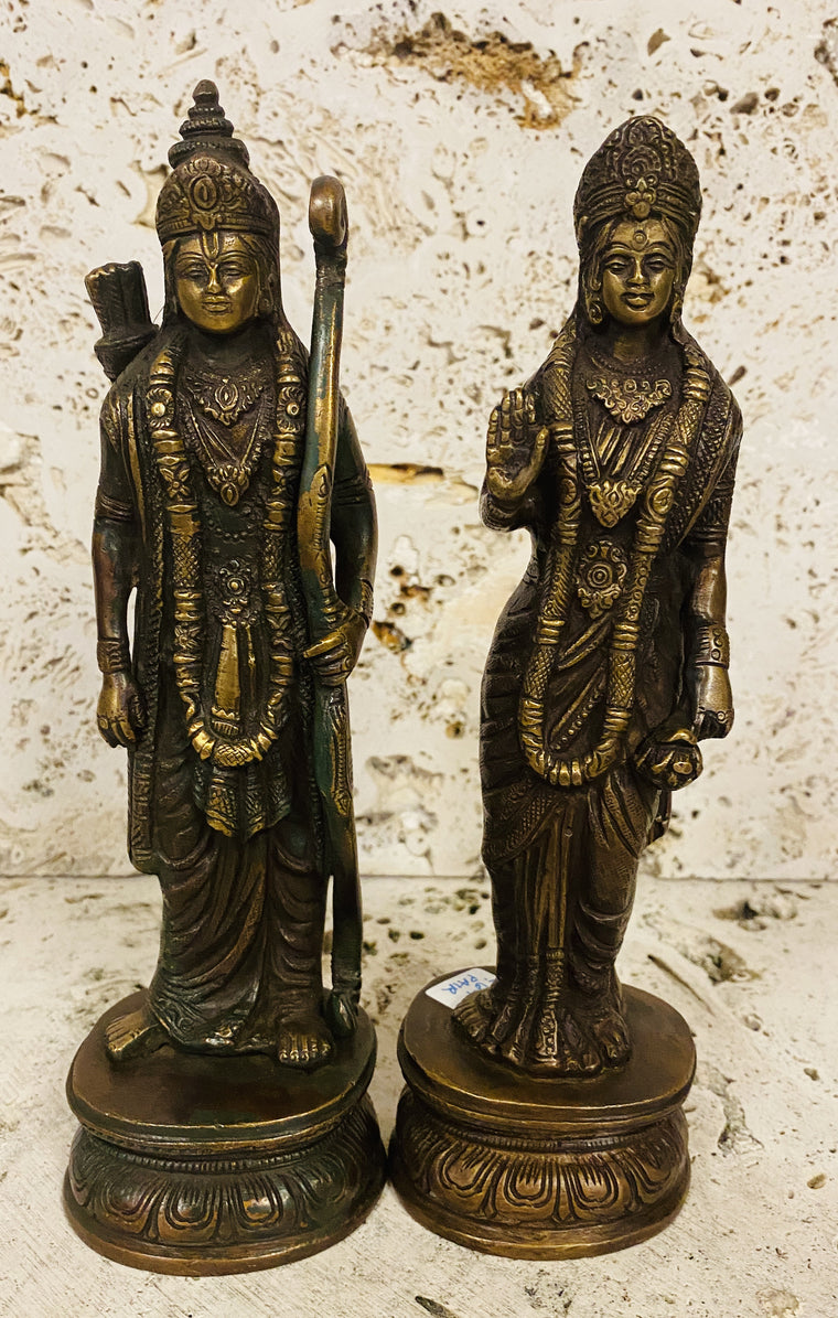 Hand Finished Brass Ram & Sita Statues Set of 2-- 23cm x 7cm