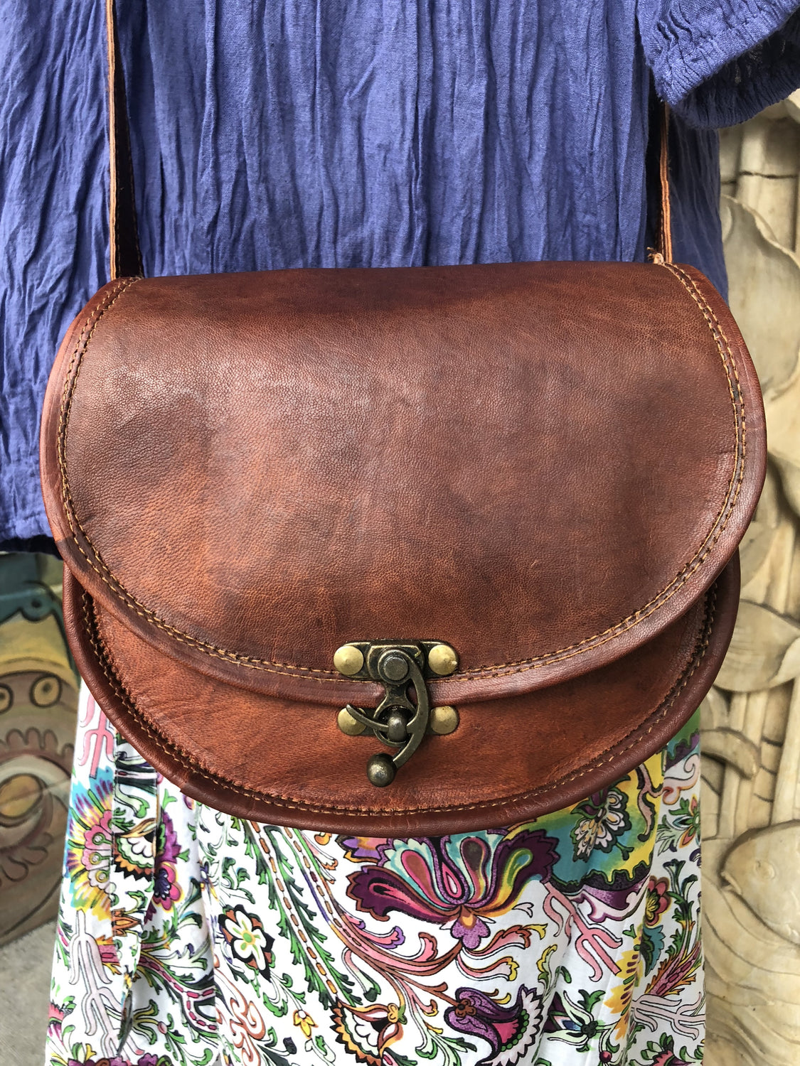 "Hand Made Camel Leather Mini Round bottom purse 9"" x 7"""