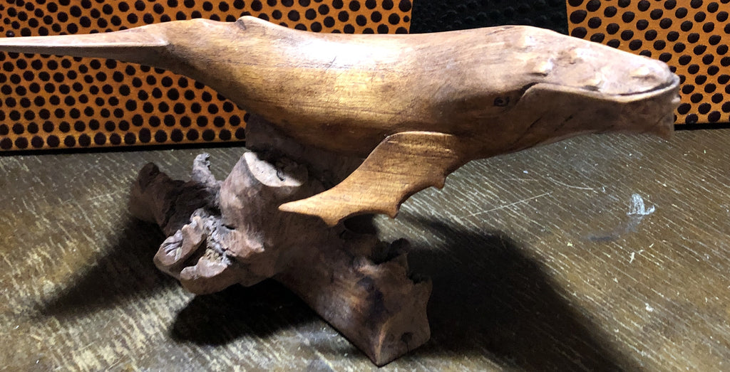 Hand Carved Suar Wood Whale Carving
