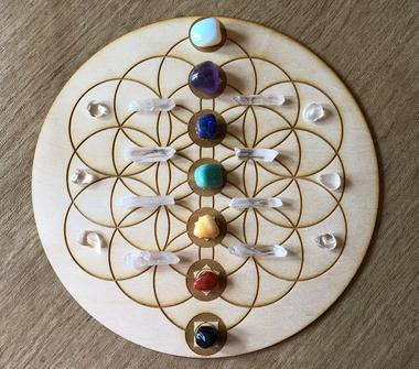 Chakra Flower of Life Crystal Gridding Boards 3