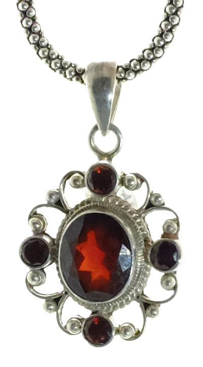 Sterling Five Stone Garnet Pendant