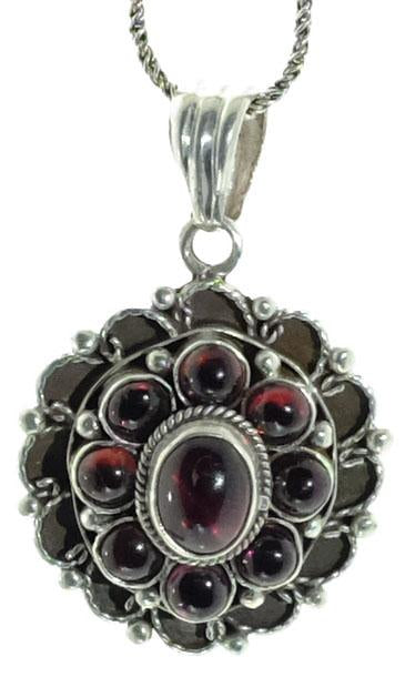 Sterling Garnet Flower Pendant