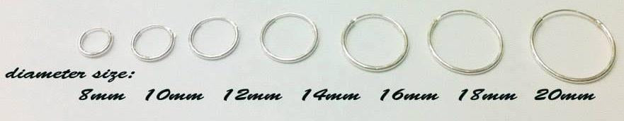 Sterling Silver Hoop Earrings 3 mm Thickness