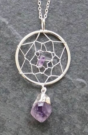 Dream Catcher Pendants With Raw Gemstone Points _ Available in Amethyst, Clear Quartz, Citrine & Tourmaline