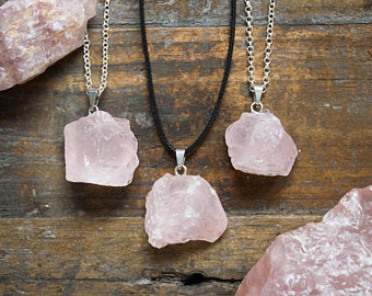 Raw Rose Quartz Pendant