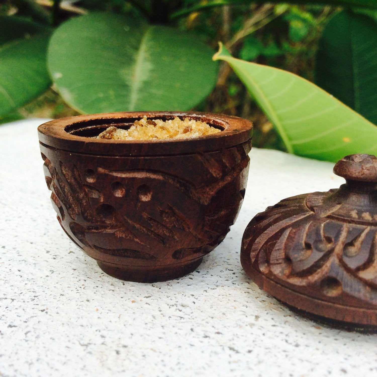 Amber Resin Perfumes in Carved Wooden Boxes