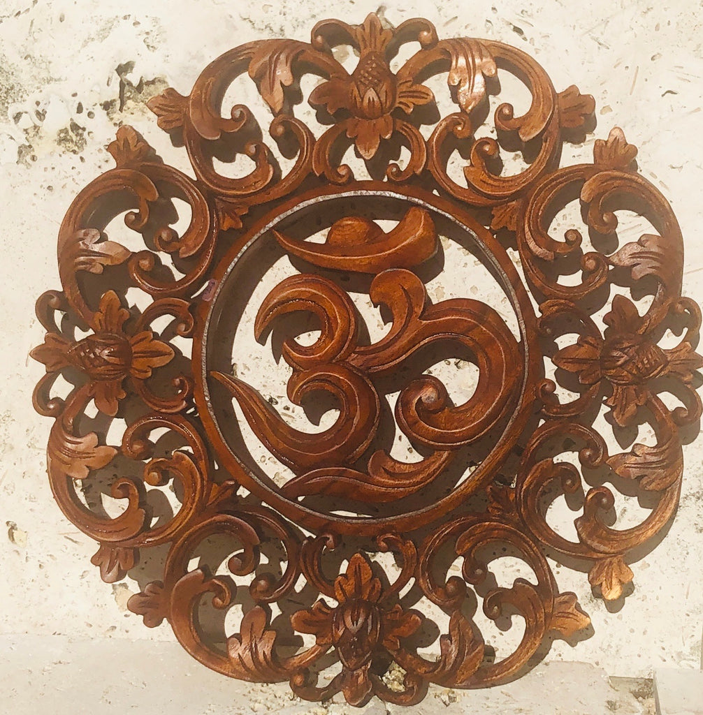 Hand Carved Om Mandala wall hanging Lotus flowers 15""