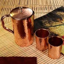 Ayurvedic Hammered Copper Water Pitcher