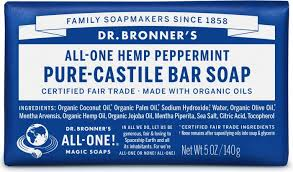 Dr Bronners Pure-Castile Peppermint Bar Soap 5oz