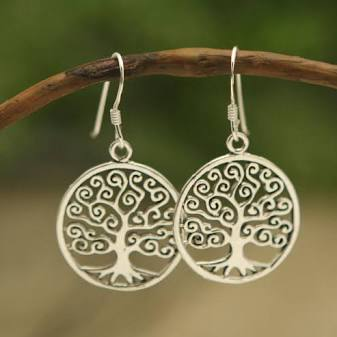 Handmade Sterling Silver Spiral Tree of Life Earrings