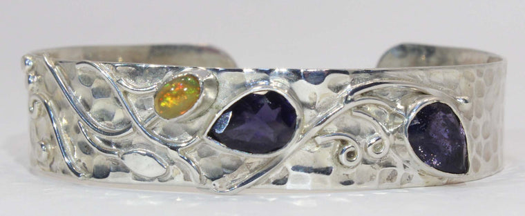 Sterling Silver Iolite and Ethiopian Opal Cuff Bracelet