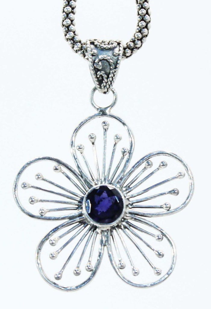Sterling Silver Flower Pendant - Available in 7 Stones