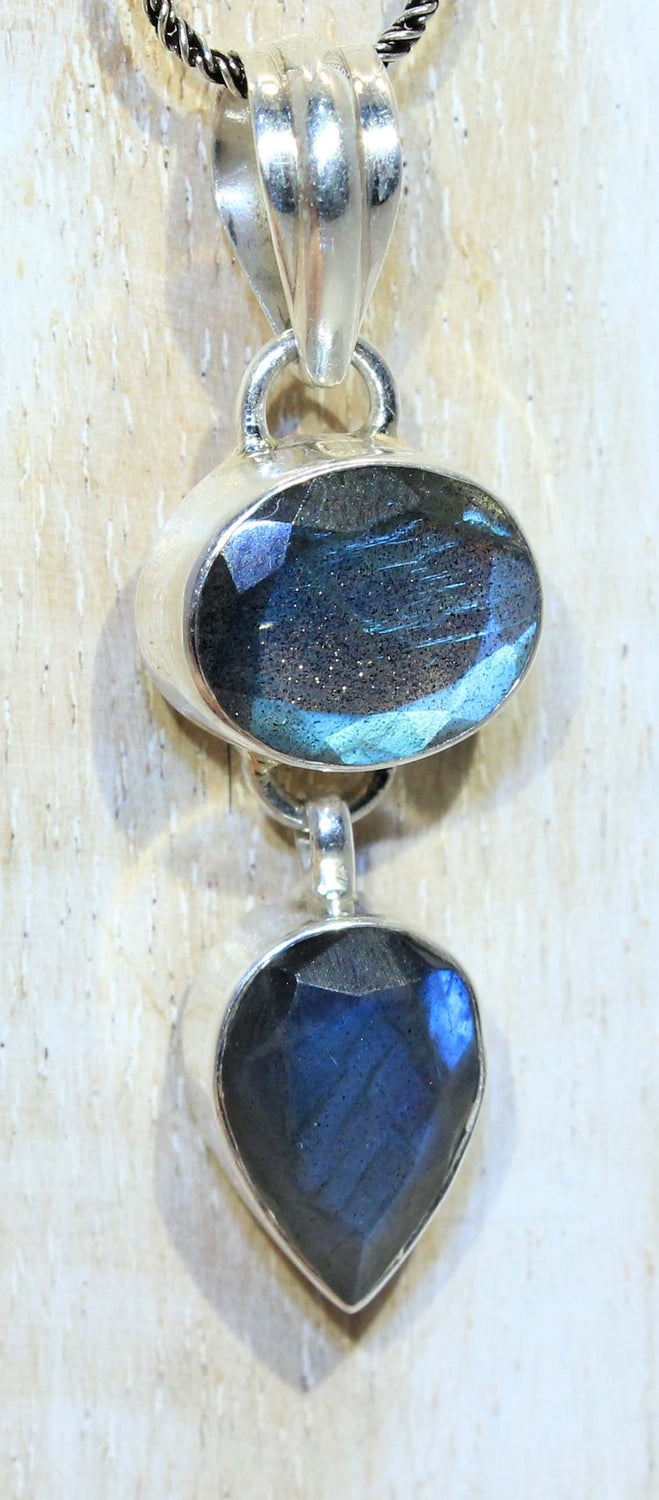 Sterling Silver Double Faceted Labradorite Pendant
