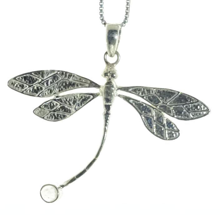 Sterling Silver Rainbow Moonstone Dragonfly Pendant