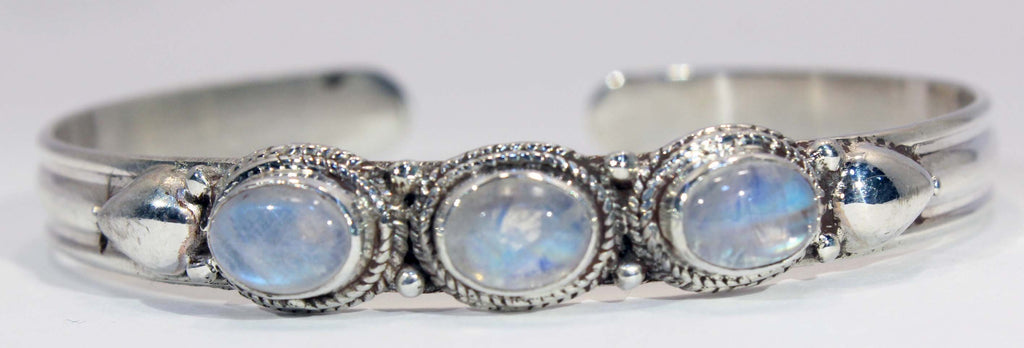 Three Stone Sterling Silver Rainbow Moonstone Cuff Bracelet