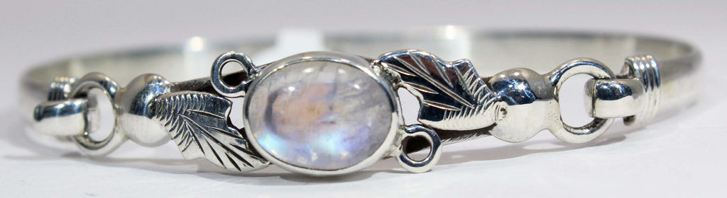 Sterling Silver Rainbow Moonstone Leaf and Vine Cuff Bracelet