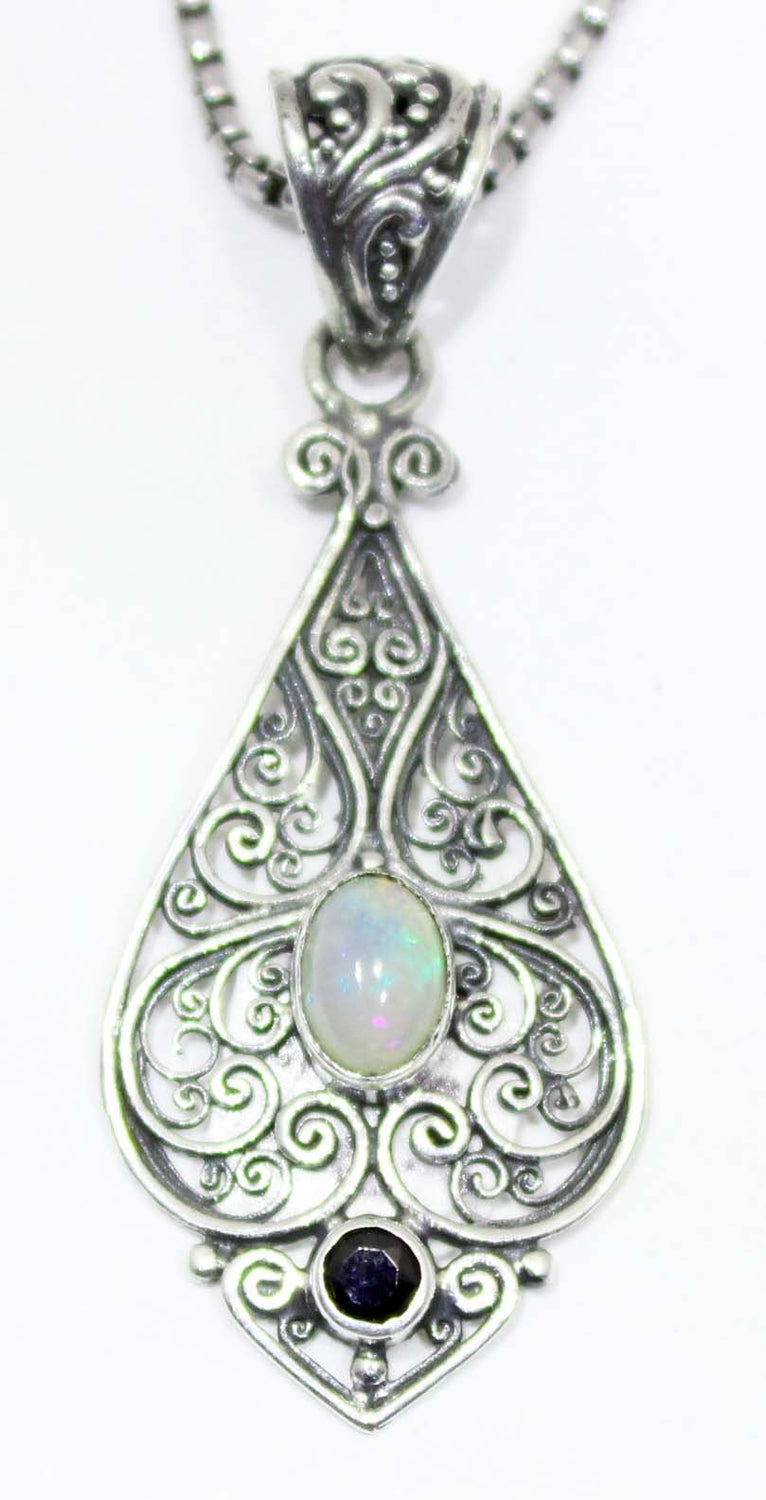 Sterling Silver Ethiopian Opal and Garnet Pendant