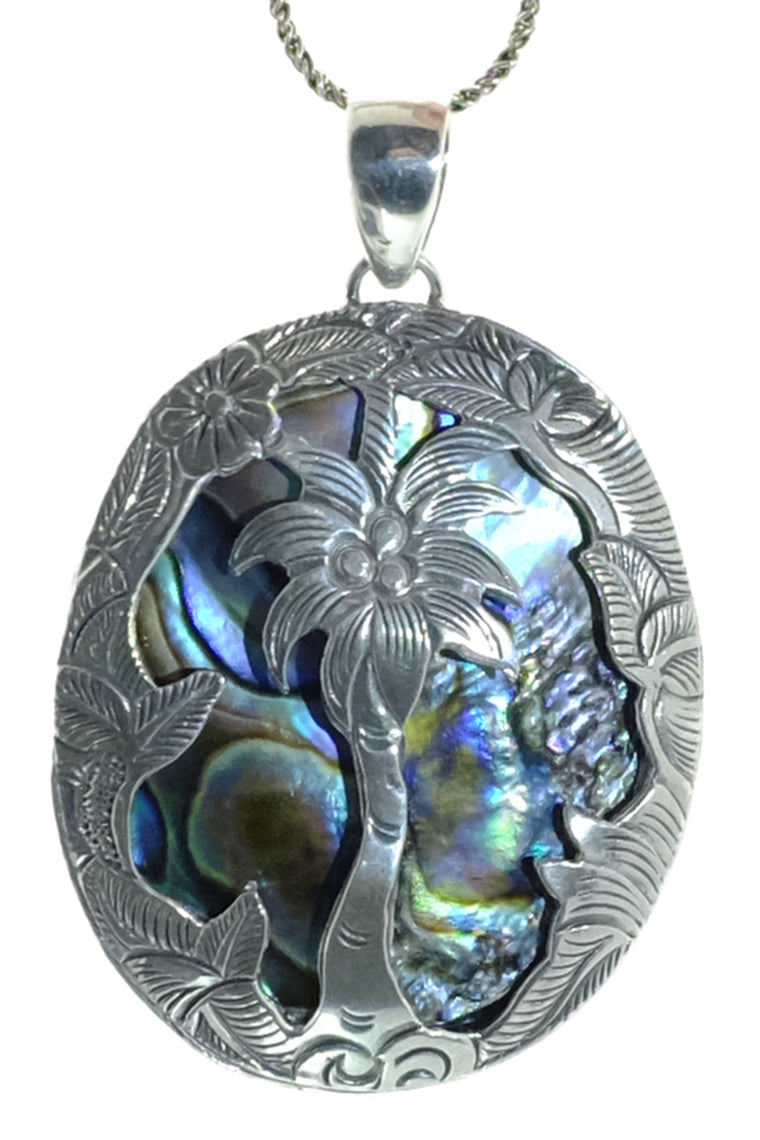 Stunning Hand Cut Sterling Abalone Shell Palm Tree Pendant