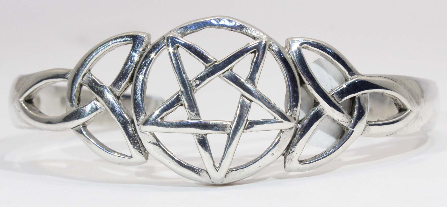Sterling Silver Pentagram and Celtic Knot Cuff Bracelet