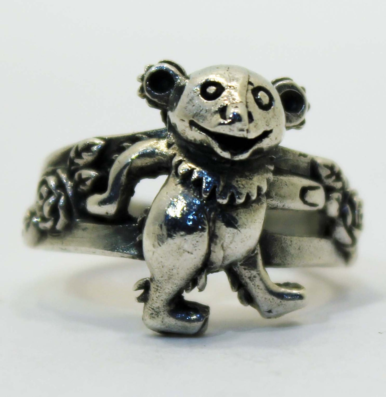 Sterling Silver Grateful Dead Dancing Bear Ring with Roses