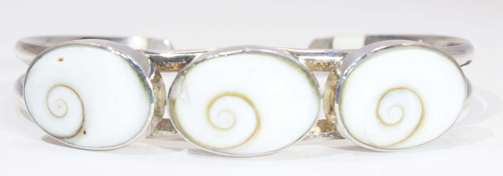 Sterling Silver Oval Shivas Eye Shell Cuff Bracelet