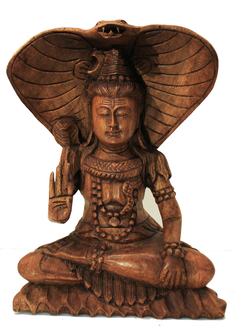 Beautifully Detailed Meditating Shiva and Cobra Carving