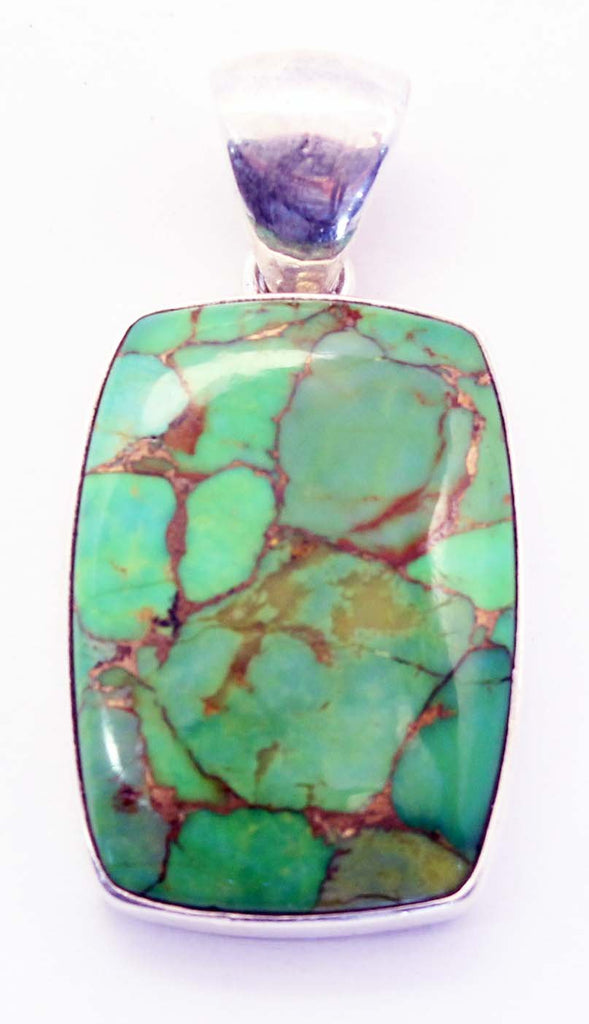Sterling Silver Square Green Turquoise Pendant