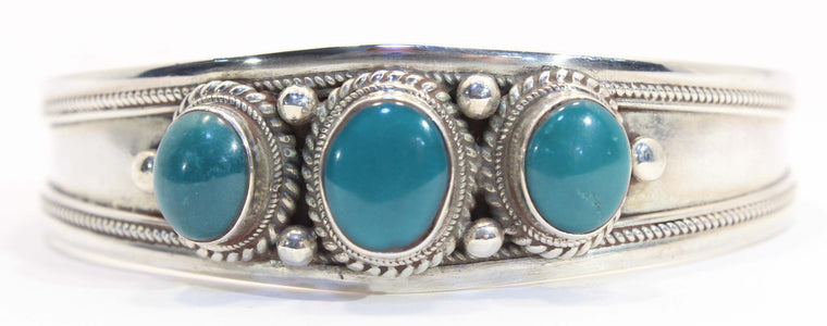 Sterling Silver Triple Stone Turquoise Cuff Bracelet