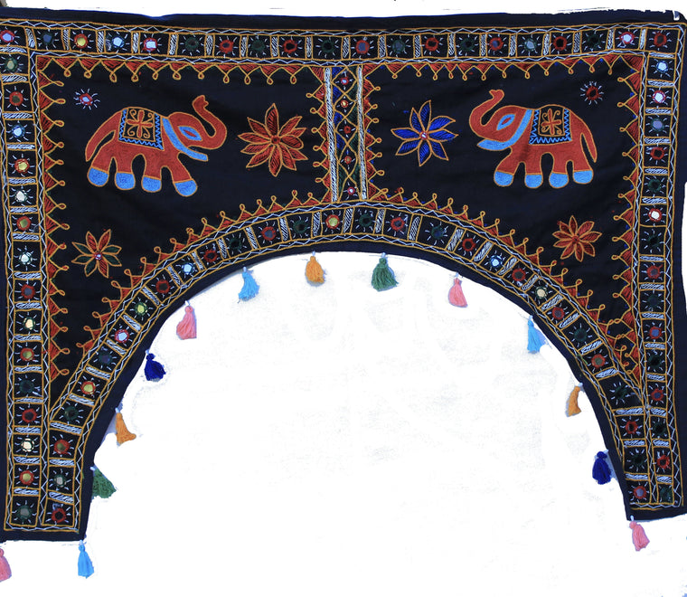 Rajasthani Elephant Embroidered Toran Door or Window Hanging