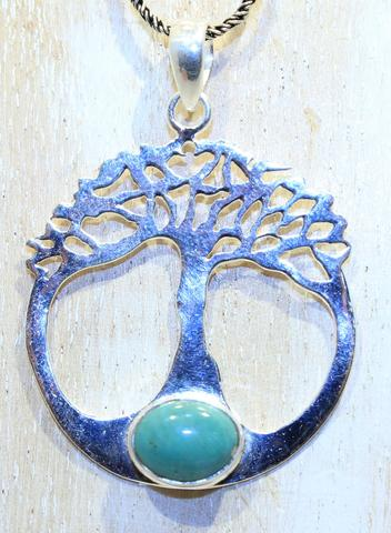 Sterling Silver Tree Of Life Pendant - Available in 9 Stones
