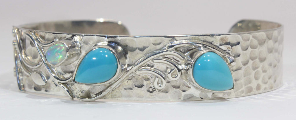 Sterling Silver Turquoise and Ethiopian Opal Cuff Bracelet